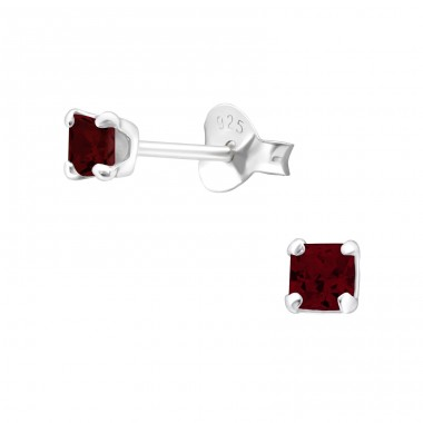 Square 3mm - 925 Sterling Silver Basic Ear Studs A4S18336