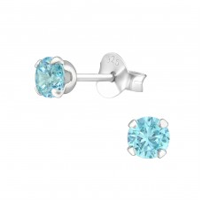 Round 4mm - 925 Sterling Silver Basic Ear Studs A4S18375