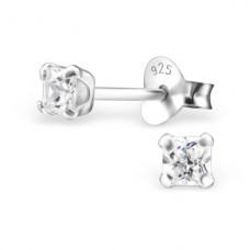 Square 4mm - 925 Sterling Silver Basic Ear Studs A4S18401