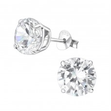 Round 8mm - 925 Sterling Silver Basic Ear Studs A4S18835