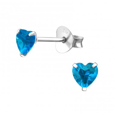 Heart 4mm - 925 Sterling Silver Basic Ear Studs A4S19033