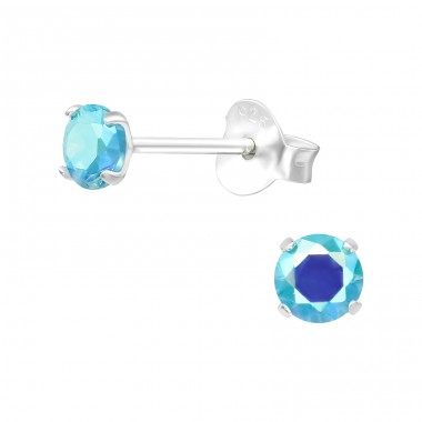 Round 4mm - 925 Sterling Silver Basic Ear Studs A4S20995
