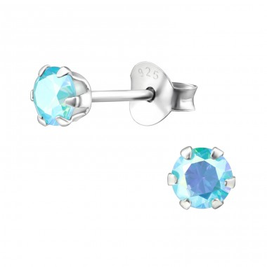 Round 4mm - 925 Sterling Silver Basic Ear Studs A4S21519