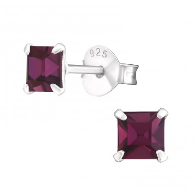 Square 4mm - 925 Sterling Silver Basic Ear Studs A4S21722