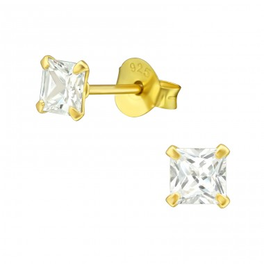 Square 4mm - 925 Sterling Silver Basic Ear Studs A4S21810