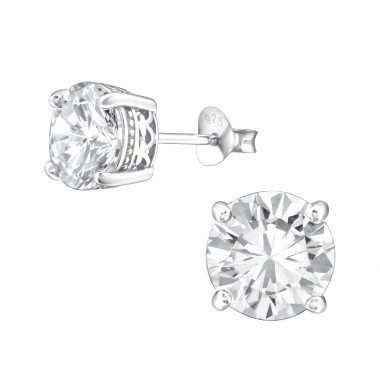 Round 8mm - 925 Sterling Silver Basic Ear Studs A4S21981