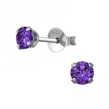 Round 4mm - 925 Sterling Silver Basic Ear Studs A4S22025