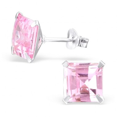 Square 8mm - 925 Sterling Silver Basic Ear Studs A4S22033