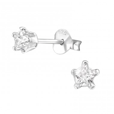 Star 4mm - 925 Sterling Silver Basic Ear Studs A4S23038