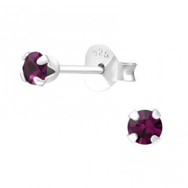 Round 3mm - 925 Sterling Silver Basic Ear Studs A4S23943