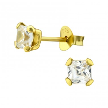 Square 4mm - 925 Sterling Silver Basic Ear Studs A4S24077