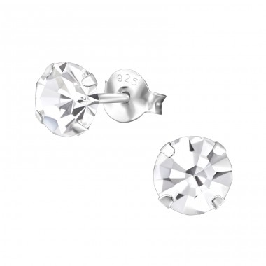Round 6mm - 925 Sterling Silver Basic Ear Studs A4S31048
