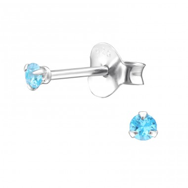 Round 2mm - 925 Sterling Silver Basic Ear Studs A4S31128