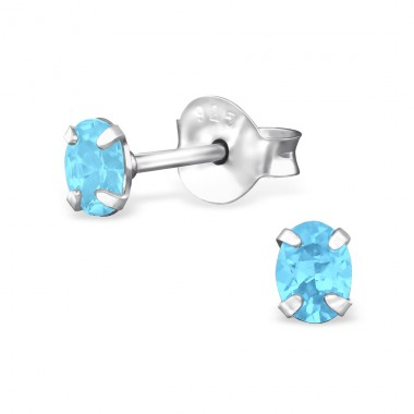 Oval 3X4Mm - 925 Sterling Silver Basic Ear Studs A4S31131