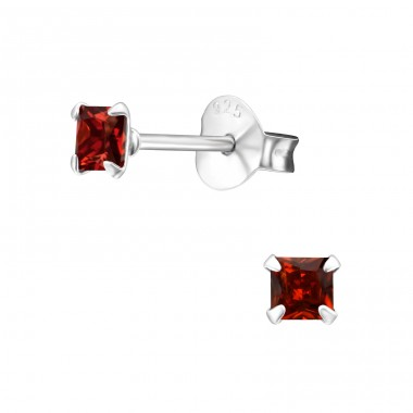Square 3mm - 925 Sterling Silver Basic Ear Studs A4S33207