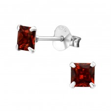 Square 4mm - 925 Sterling Silver Basic Ear Studs A4S33208