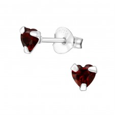 Heart 4mm - 925 Sterling Silver Basic Ear Studs A4S33210
