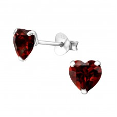 Heart 6mm - 925 Sterling Silver Basic Ear Studs A4S33211