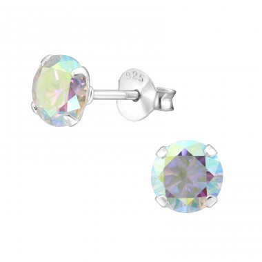 Round 6mm - 925 Sterling Silver Basic Ear Studs A4S34040