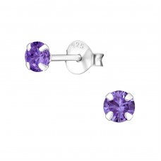 Round 4mm - 925 Sterling Silver Basic Ear Studs A4S34524
