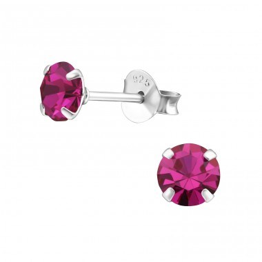 Round 5mm - 925 Sterling Silver Basic Ear Studs A4S34980