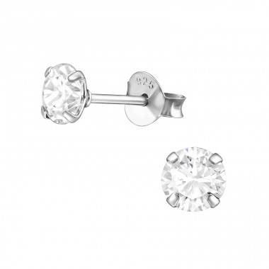 Round 5mm - 925 Sterling Silver Basic Ear Studs A4S35431