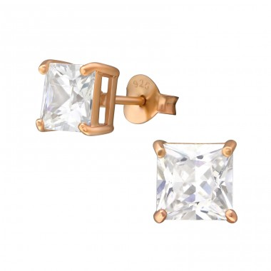 Square 6mm - 925 Sterling Silver Basic Ear Studs A4S35460