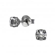 4 mm Round - 925 Sterling Silver Basic Ear Studs A4S35796