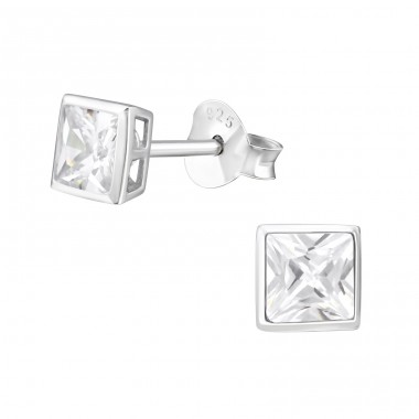 Square 4mm - 925 Sterling Silver Basic Ear Studs A4S3696