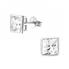 Square 6mm - 925 Sterling Silver Basic Ear Studs A4S3697