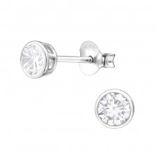 Round 4mm - 925 Sterling Silver Basic Ear Studs A4S3700