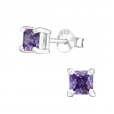 Square 4mm - 925 Sterling Silver Basic Ear Studs A4S3701