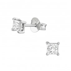 Square 3 mm - 925 Sterling Silver Basic Ear Studs A4S38460