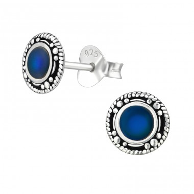 Oxidized - 925 Sterling Silver Basic Ear Studs A4S38774