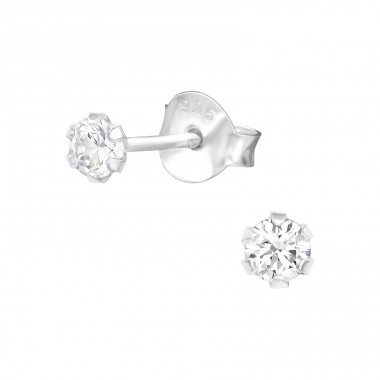 Round - 925 Sterling Silver Basic Ear Studs A4S39635