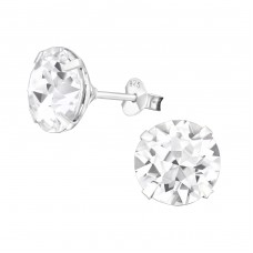 Round 10mm - 925 Sterling Silver Basic Ear Studs A4S4448