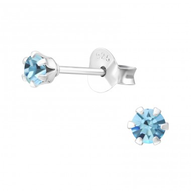 Round 3mm - 925 Sterling Silver Basic Ear Studs A4S5573