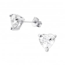 Heart 6mm - 925 Sterling Silver Basic Ear Studs A4S994