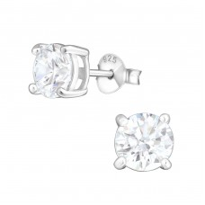 Round 6mm - 925 Sterling Silver Basic Ear Studs A4S999