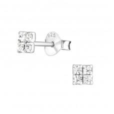 Square - 925 Sterling Silver Ear Studs with Crystal stones A4S10132