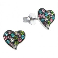 Heart - 925 Sterling Silver Ear Studs with Crystal stones A4S14446
