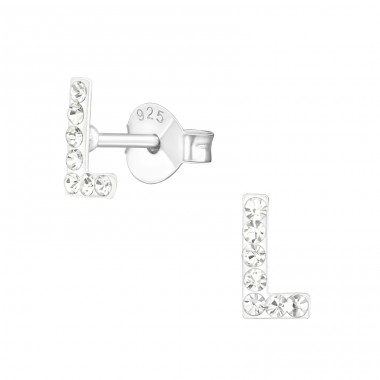 Initial L - 925 Sterling Silver Ear Studs with Crystal stones A4S16324