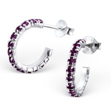 Semi Hoops - 925 Sterling Silver Ear Studs with Crystal stones A4S16489