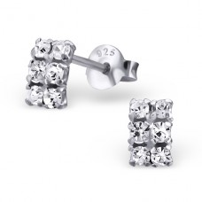 Rectangle - 925 Sterling Silver Ear Studs with Crystal stones A4S16495