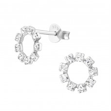 Circle - 925 Sterling Silver Ear Studs with Crystal stones A4S16527