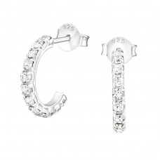 Semi Hoops - 925 Sterling Silver Ear Studs with Crystal stones A4S16558