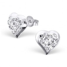 Heart - 925 Sterling Silver Ear Studs with Crystal stones A4S16571
