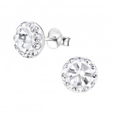 Round - 925 Sterling Silver Ear Studs with Crystal stones A4S17445