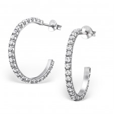 Curved - 925 Sterling Silver Ear Studs with Crystal stones A4S1748