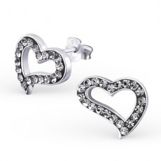 Heart - 925 Sterling Silver Ear Studs with Crystal stones A4S18550